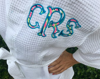 Monogrammed Spa Robe with Lilly Pulitzer Monogram