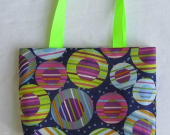 Fabric Gift Bag/ Small Tote/ Hostess Gift Bag- Fun Polka Dots in Blue