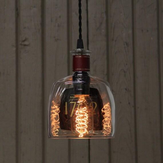 Barton 1792 Bottle Pendant Light - Upcycled Industrial Glass Ceiling Light - Handmade Bourbon Bottle Light Fixture, Recycled Lighting