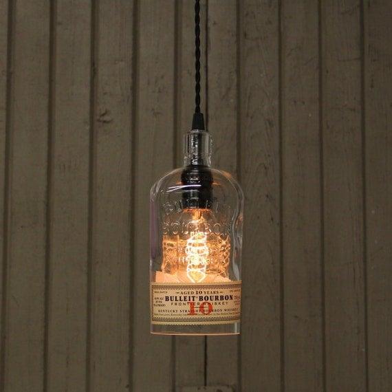 Bulleit 10 Year Bottle Pendant Light - Upcycled Industrial Glass Ceiling Light - Handmade Bourbon Bottle Light Fixture, Recycled Lighting