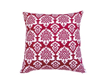 Oriental Cushion Cover, Red And White Cushion , Red White Cotton Pillow Cover, Red Throw Pillow, Boho Cushion Cover, 16x16 Red Cushion
