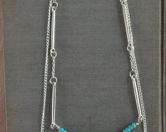 Teal Multi-layer Silver Necklace