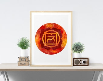 Root Chakra Art Wall Decor Printable Chakra Art Muladhara Poster Wall Art Printable Art Poster Meditation Room Art Yoga Studio Art