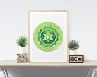 Heart Chakra Art Wall Decor Printable Chakra Art Poster Anahata Wall Art Printable Art Poster Meditation Room Art Yoga Studio Art