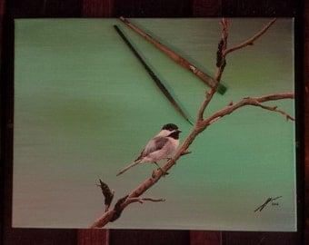 Chickadee with Ants - Original Painting