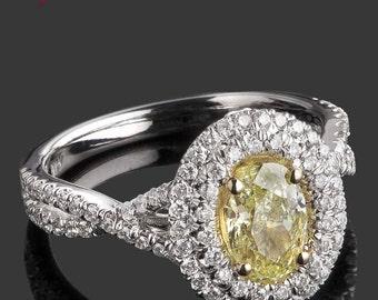 Oval Diamond Engagement Ring, 1.75 Ct, Yellow Diamond Engagement Ring, Double Halo Ring, Twisted Shank, Infinity Band, 18k White Gold