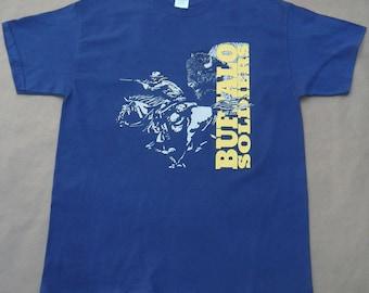 Buffalo Soldiers tshirt black history military Old West blue dusk 100% cotton Gildan short sleeve graphic tee