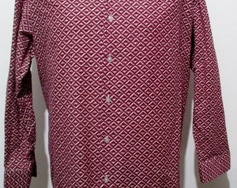 """70s Purple Geometric Print Disco Shirt XL 48"""" Chest (46-48) 100% Cotton with Spearpoint Collar ---Quality Vintage Menswear---"""