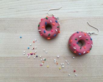 Strawberry Glazed Donut Earrings