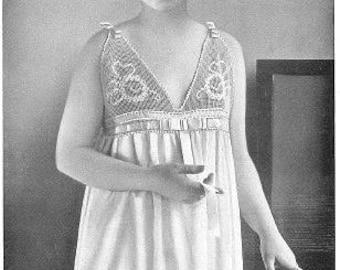 Antique crochet patterns PDF 1920s nightgowns, filet crochet edgings, lingerie pattern Downton, flapper, Gatsby, slipovers, slippers, collar