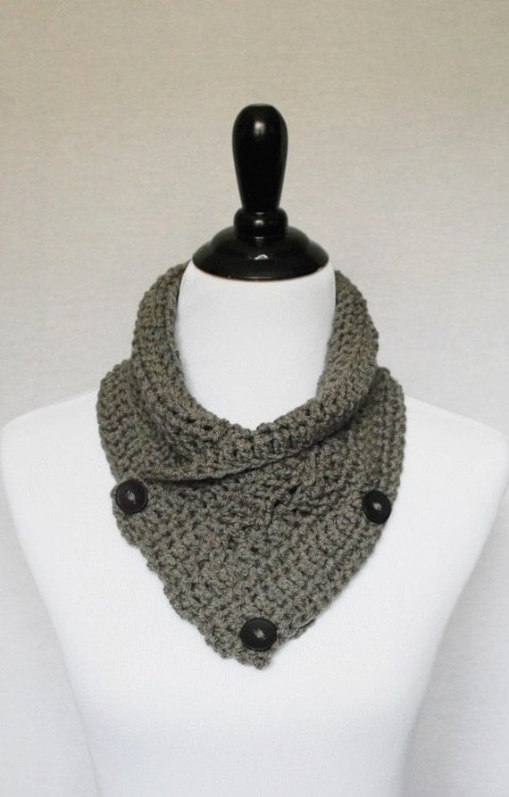 SALE! Gray Button Cowl, Crochet Wrap Scarf, Neck Warmer, Button Infinity Scarf, Lacy Crochet Cowl, Crochet Collar Scarf - Charcoal