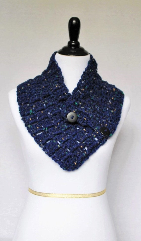 Blue Tweed Button Scarf, Navy Button Cowl, Crochet Neck Warmer, Indigo Button Scarf, Crochet Wrap, Collar Scarf
