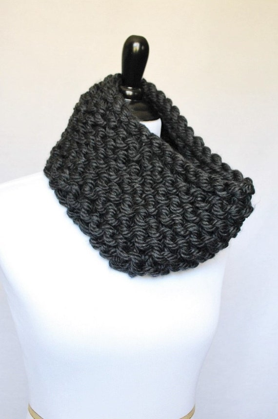 SALE! Gray Chunky Knit Cowl, Charcoal Gray Neck Warmer, Dark Gray Infinity Scarf - Garter Knit