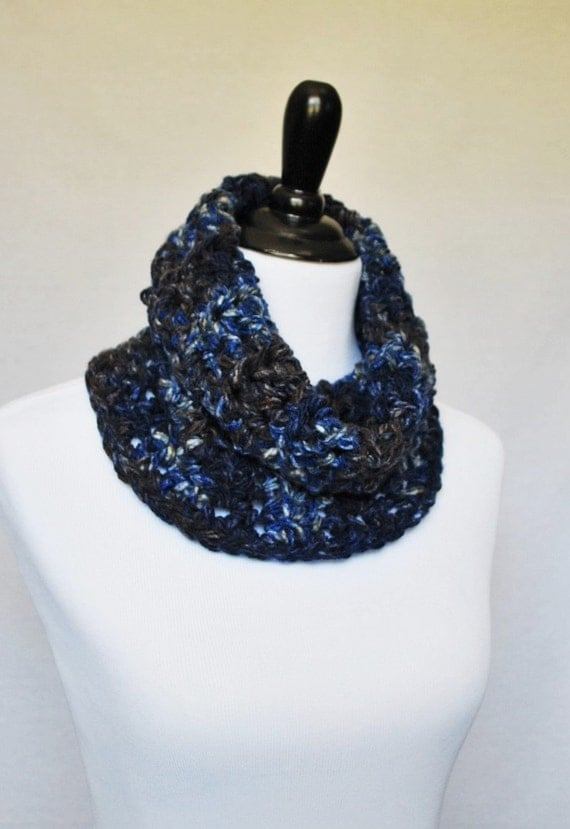 Blue Brown Crochet Cowl, Draped Neck Warmer, Short Infinity, Collar Scarf