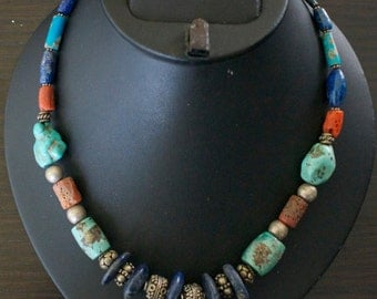 Spectacular TUQUOISE LAPIS LAZULI Coral Silver Necklace