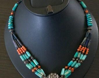 Striking TURQUOISE CORAL LAPIS Lazuli Necklace