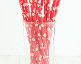 25 Red and Yellow Daisy Paper Straws- These floral straws would make a great touch to a garden party, flower birthday, or shower