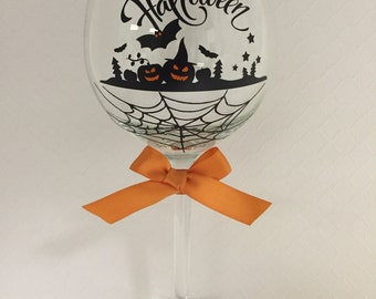 Happy Halloween Wine Glass, Halloween Glass, Fun Wine Glass,SALE