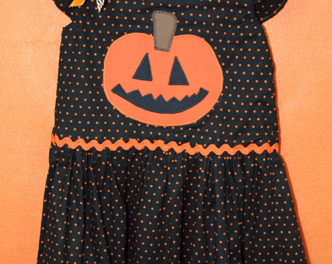 Jack-O-Lantern Girls Halloween Dress, Toddler Halloween Pumpkin dress,Girls Fall dress, Toddler Fall Dress,Thanksgiving Dress