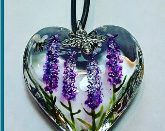 Hand Painted Glass Heart Necklace, Pendant, Choker, Lavender Flowers And Bumblebee, Bee, Unique Jewellery, Miniature Art