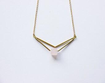 CUvE rose quarzt necklace,  brass necklace, minimalist necklace, geometric necklace, gemstone necklace