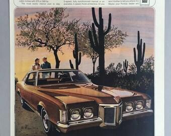 1969 General Motors Pontiac Grand Prix Print Ad - Illustrated Ad