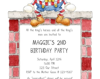 Mother Goose Humpty Dumpty Nursery Rhymes Birthday Party Invitation