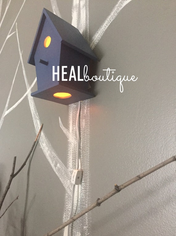 Whimsical Wall Hanging Bird House Lamp Modern Baby by healboutique