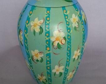 Colorful ceramic urn handpainted