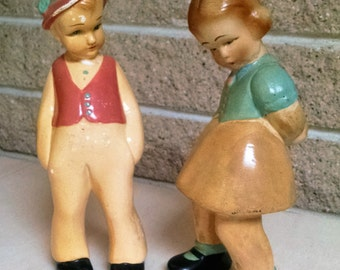 Chalkware German Boy and Girl Figurines - Vintage Pair