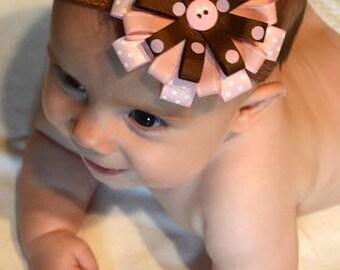 Pink and Brown Polka Dot Bow, Pink and Brown Headband, Polka Dot Loop Bow, Baby Headbands, Grosgrain Ribbon Hair Bow, Baby Hair Accessories