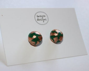 Polymer clay and copper leaf stud earrings