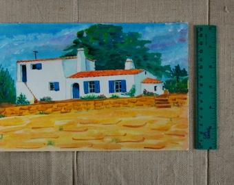 Noirmoutier House-France- Gouache-landscape