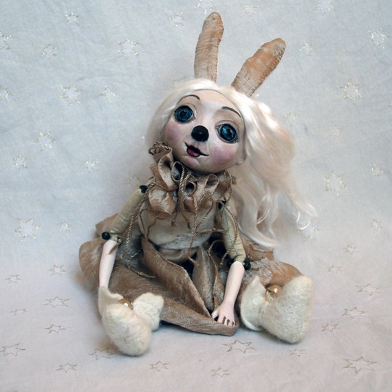 Christmas Art Doll Gift/ Doll Rabbit/ Clay Art Dolls/ Christmas Gift Rabbit Art Doll/ Christmas Home Decor Sculpture/ Christmas Decoration
