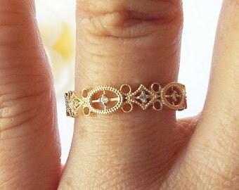 14k filigree diamond eternity engagement ring filagree diamond ring milgrain vintage diamond filagree gold stacking anniversary ring