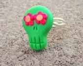 Sugar Skull Ring, Dia de los Muertos Jewelry, Sugar Skull Jewelry, Rockabilly jewelry, Adjustable rings, Pinup Rings