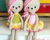 "Crochet toy pattern ""Bunny in lush skirt"" PDF"