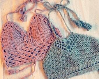 Crochet festival top, crochet crop top, crochet bikini top, boho top, festival style