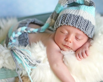 NEWBORN Baby Boy Handmade knitted turquoise blue, light grey, and dark grey striped beanie with tail and matching pants elf photo prop set