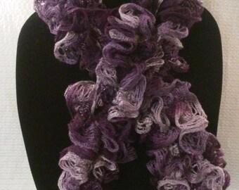 Purple Ruffle Scarf, Skinny Scarf, Crochet Scarf, Handmade