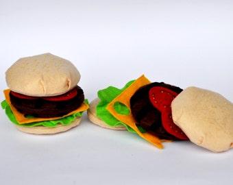 Ready To Ship/ Felt Burger / Sets Of 2 Felt Burger / Felt Play Food