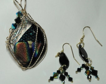Dichroic Glass Necklace Pendant wire wrapped with 14k gold-filled wire and accented with Swarovski crystals with matching earrings