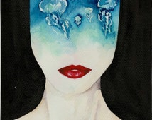 original sci-fi portrait painting, art, wall artwork, watercolor, jellyfish, science fiction, schilderij waterverf, surreal, halloween