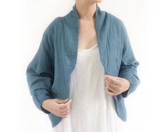 SALE, Long Sleeve Shrug Bolero Cotton Jacket in Blue