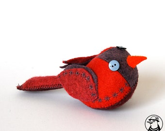 decorative felt red bird