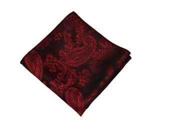 Burgundy  Paisley Pocket Square.Burgundy Wedding Pocket Square.Silk handkerchief