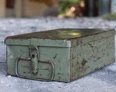 Military Metal Box - Army Box - First Aid Box - Green Metal Storage Box - Vintage Emergency Kit - German Metal Box - Industrial Decor