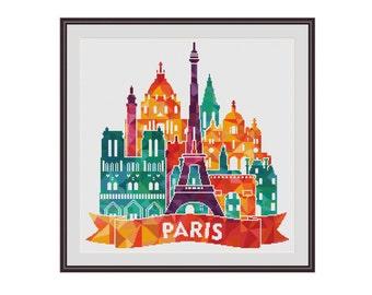 Geometric cross stitch, Triangles Cross stitch, Paris cross stitch, France cross stitch, Paris landmarks, Eiffel tower, Triumphal arch, PDF
