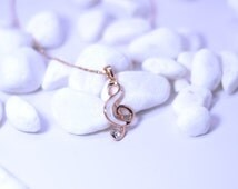 Treble Clef Necklace - Music Note Necklace - Music Jewelry - Music Necklace - Music Gift - Piano Gift - Piano Jewelry - Rose Gold plated