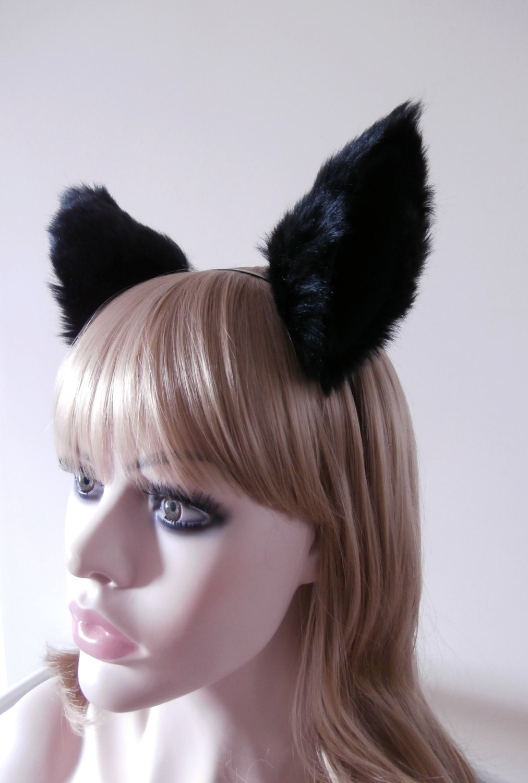 bigger lolita headband cat wolf fox ears black kitty hair clips soft fur cosplay costume halloween
